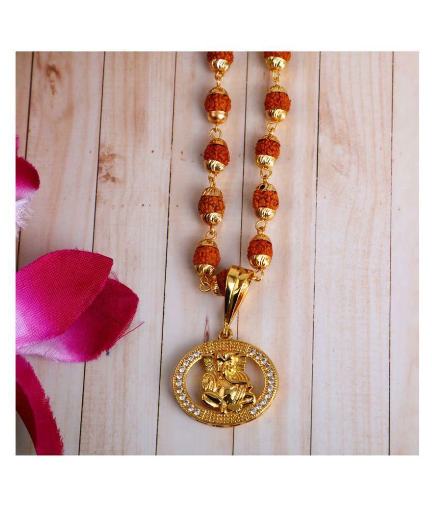 DIPALI Im itation Rudraksh Mala With Gold Plated GANPATI Inspired Pendant Set For Men BoyS