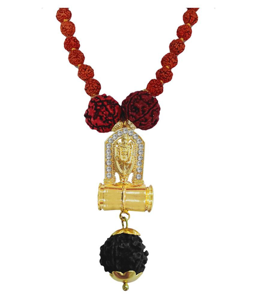 Men Style Religious Jewellery Lord Tirupati Balaji Gold Brown Brass Wood Locket With Rudraksha Mala