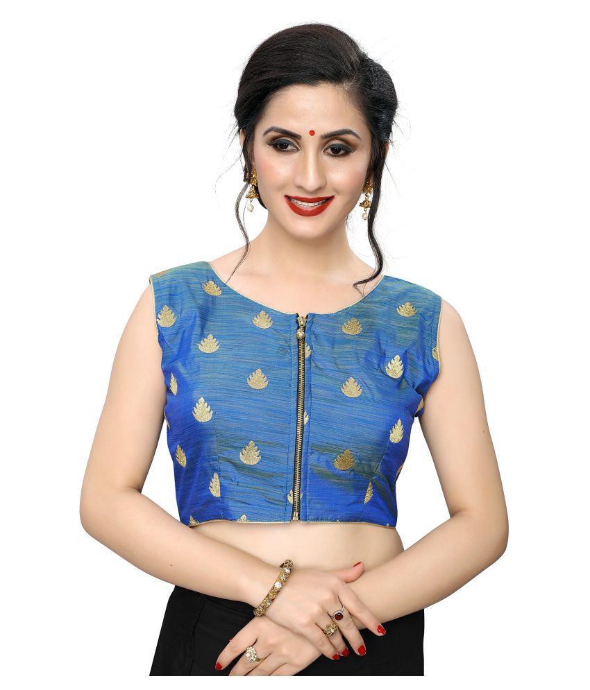 PRAFULBHAI KANTILAL RACHHADIYA (HUF) Blue Jacquard Readymade with Pad Blouse