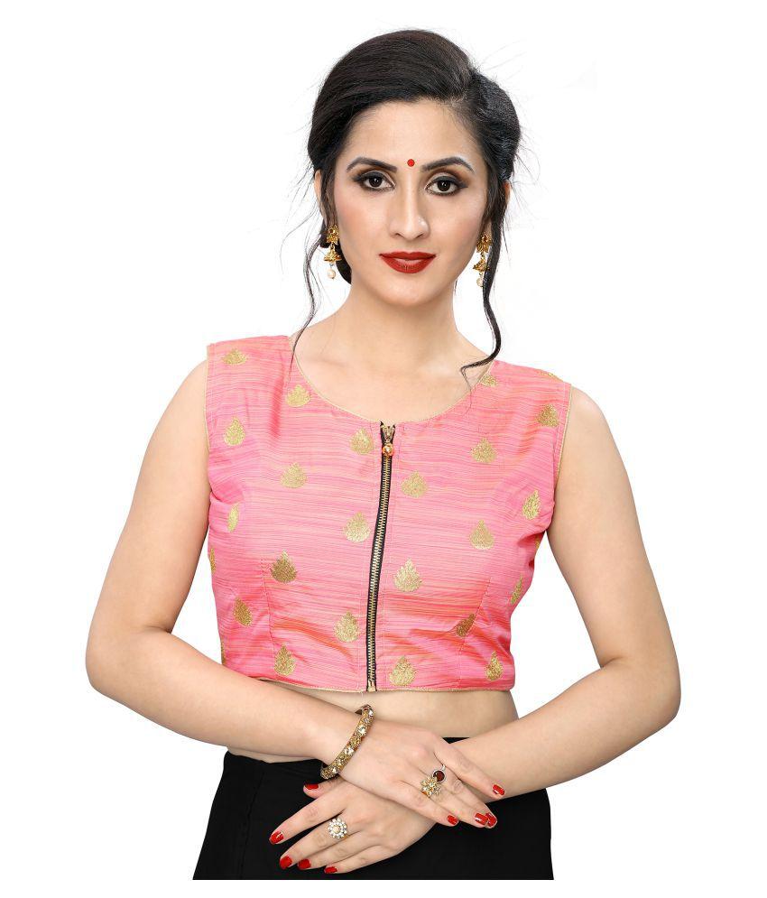 PRAFULBHAI KANTILAL RACHHADIYA (HUF) Pink Jacquard Readymade with Pad Blouse