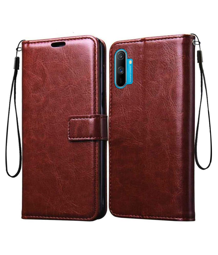 Realme C3 Flip Cover by BeingStylish - Brown Vintage Flip Cover