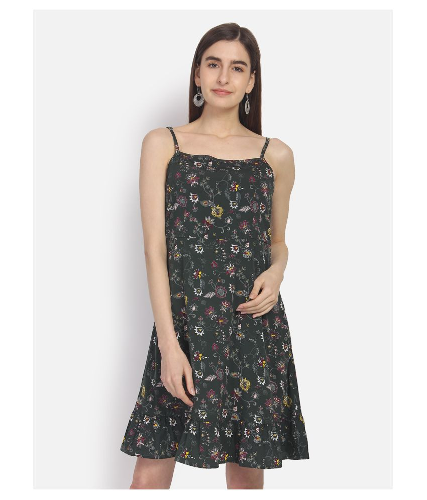 Yaadleen Polyester Green Fit And Flare Dress