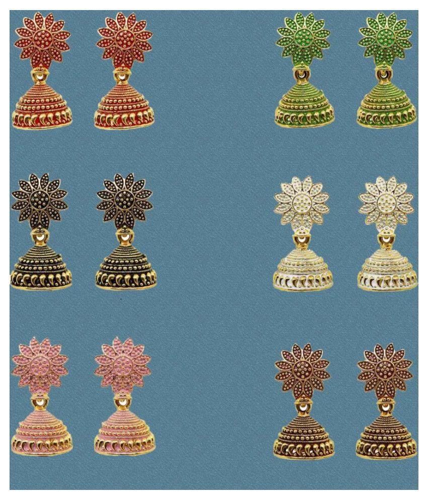 Beautiful & Stylish Daily wear Jhumka Jhumki Earrings Pack of 6 Pairs