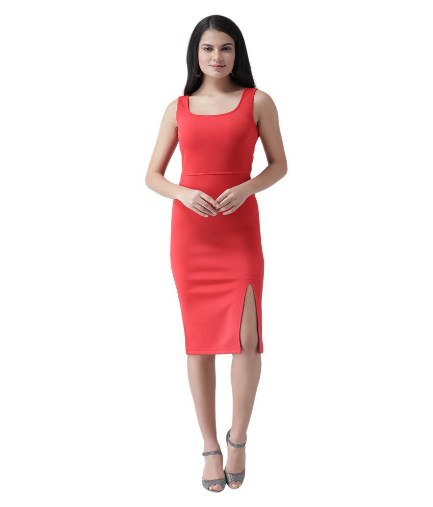 Texco Polyester Red Sheath Dress