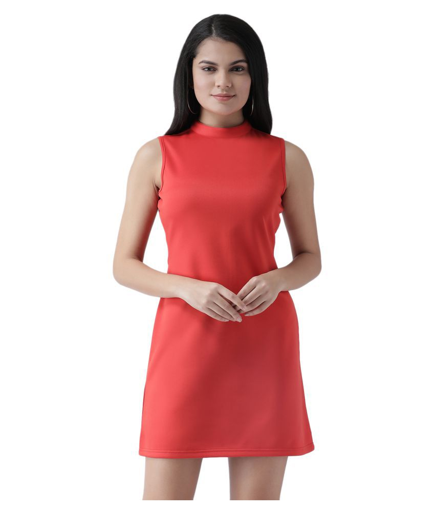 Texco Polyester Red Shift Dress