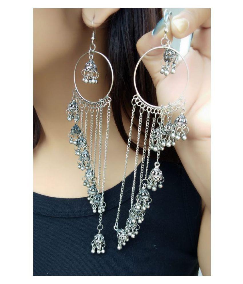 Darshini Designs Oxidized Plating Trendy Multi Layered  Fashion Earrings For Women