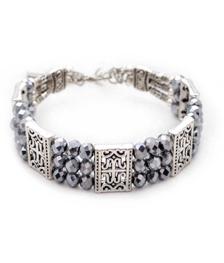 Jewelz Silver toned black crystal textured bracelet