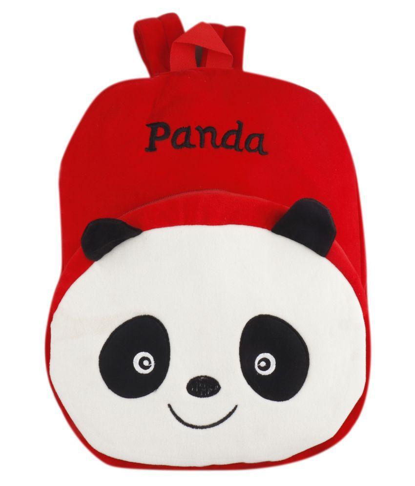 Panda Kids School Bag Soft Plush Backpacks Cartoon Baby Boy Girl (2-5 Years) Red