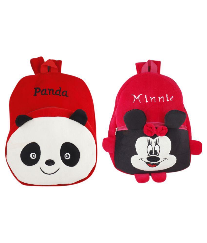 SSImpex Panda Minnie Kids School Bag Soft Plush Backpacks Cartoon Baby Boy Girl (2-5 Years) Red Pack of 2