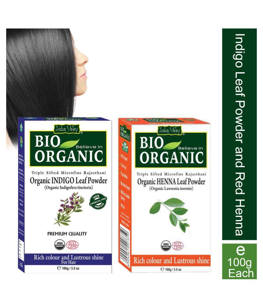 Indus Valley Indigo Leaf Powder with Henna Leaf Powder For Grey Coverage Each Natural Henna 100 g Pack of 2