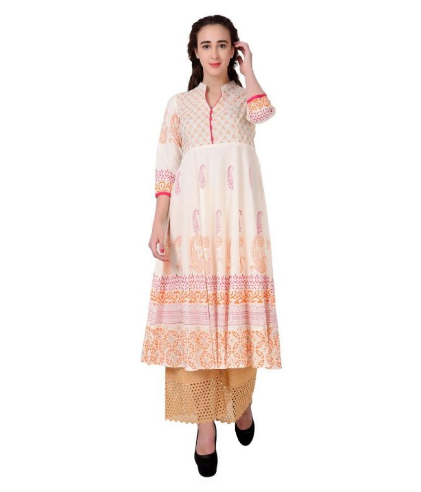 DEGE Off White Cotton Anarkali Kurti