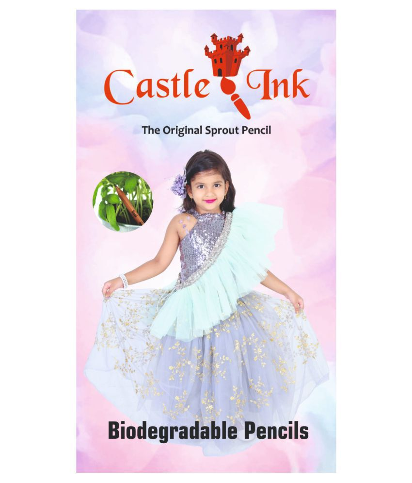 Castle Ink Biodegradable Been Paper Pencil Pack of 12 with Barbie Glitter Pens Pack of 12 combo