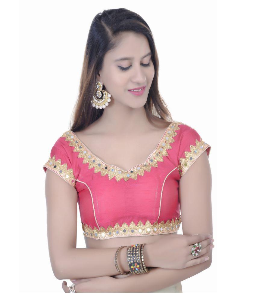 Daniya Trends Pink Dupian Silk Readymade with Pad Blouse