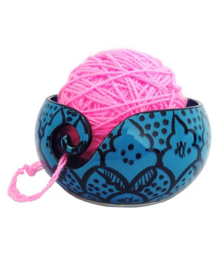 Handcrafted Greek Blue Ceramic Knitting Yarn Bowl Holder, Crochet for Moms & Grandmothers, Gifts for her