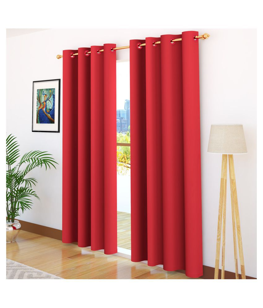 Story@Home Set of 2 Door Blackout Room Darkening Eyelet Silk Curtains Red