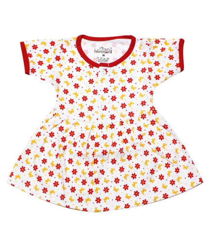 Babeezworld Regular Daily Wear Baby Girl Printed Cotton Half Sleeves Frock Dress