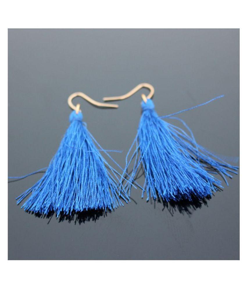 Fabula Jewellery Blue Mini Tassel Drop Fashion Earrings For Women & Girls