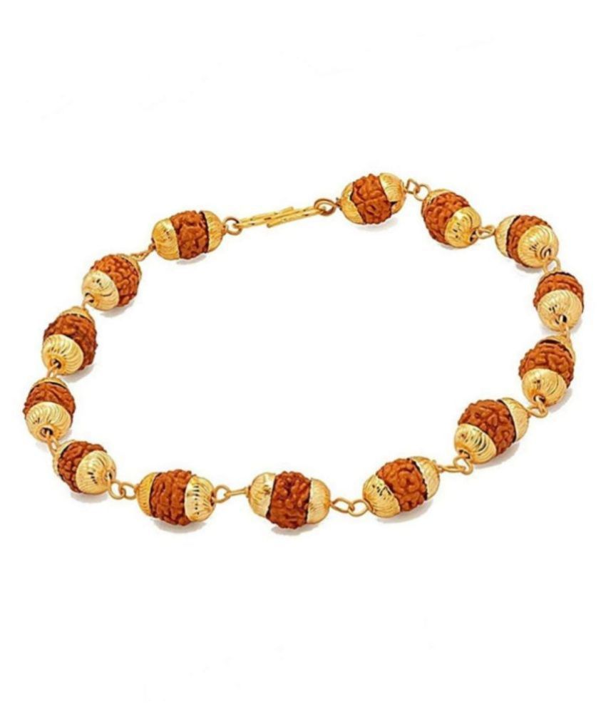 Golden cap Original 5 Mukhi rudraksha bracelet for unisex | original bracelet Guaranteed By RUDRADIVINE Rudraksha Bracelet Golden cap Original rudraksha beads