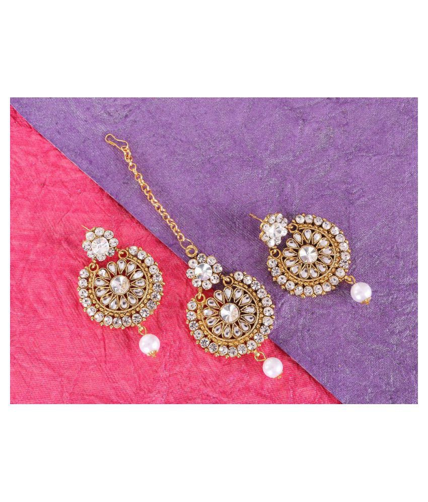 Kord Store Elegant Round Shape White Stone Gold Plated Chand Bali Earring With Mangtikka For Women