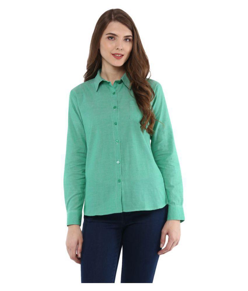 One Femme Green Cotton Shirt
