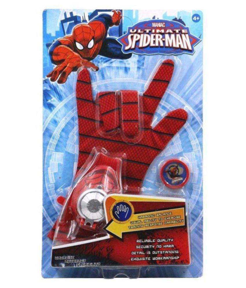 TOY BAZAR Ultimate Spiderman Gloves with Disc Launcher for Kids