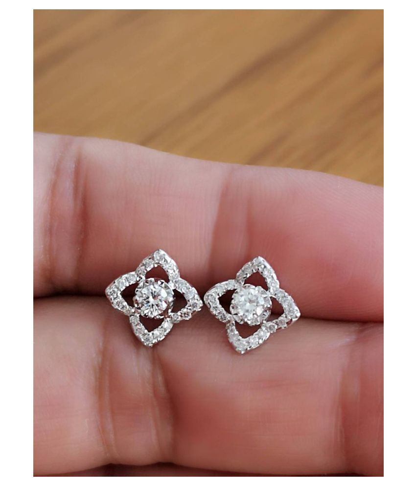 Pure 925 Silver Made Flower Earrings 14K White Gold Plating Excellent CZ Diamond Anniversary Stud Earrings