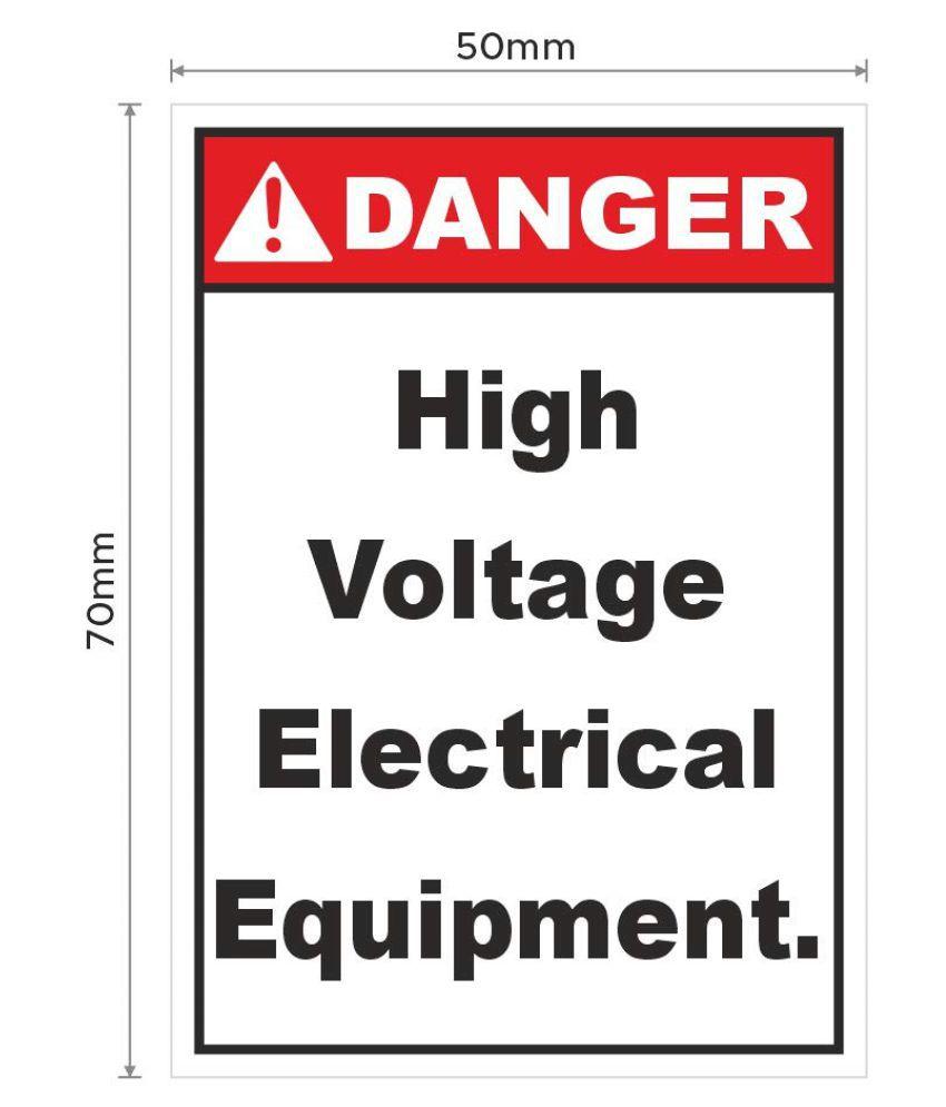 Rangvishwa  Enterprises Danger High Voltage Electrical Equipment Sticker ( 7 x 5 cms )
