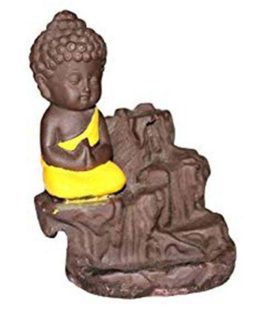 jiya art gallery Black Resin Monk Buddha Smoke Backflow - Pack of 1 buddha Resin Ganesha Idol x cms Pack of 1