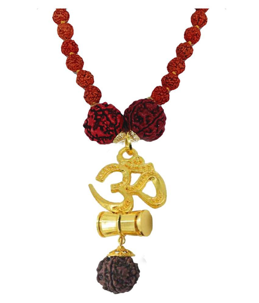 Men Style Religious Jewellery Om Gold Brown Brass Wood Locket With Rudraksha Mala