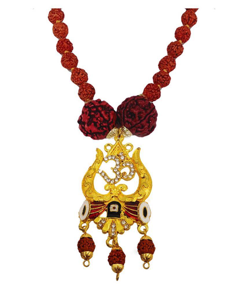 Men Style Religious Jewellery Om Trishul Damru Gold Brown Brass Wood Locket With Rudraksha Mala