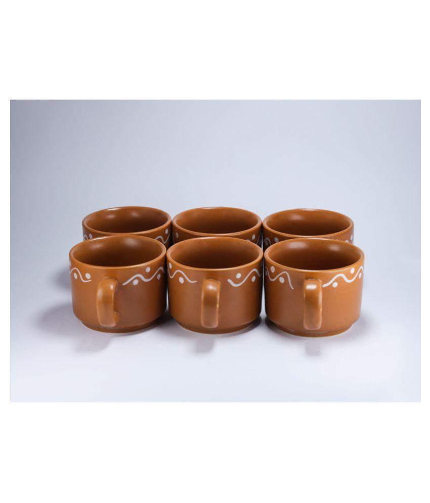 designo prints Ceramic Brown & white cups Tea Cup 6 Pcs 125 ml