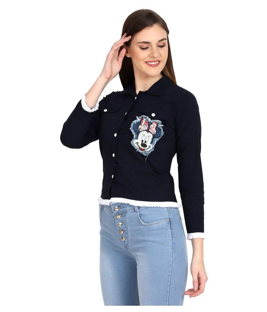 BuyNewTrend Navy Cotton Blend Shirt
