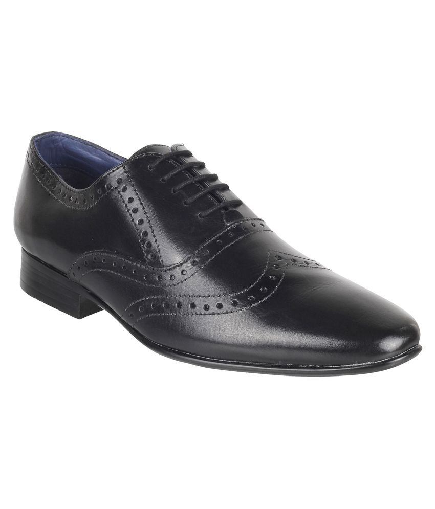 Metro Brogue Genuine Leather BLACK Formal Shoes