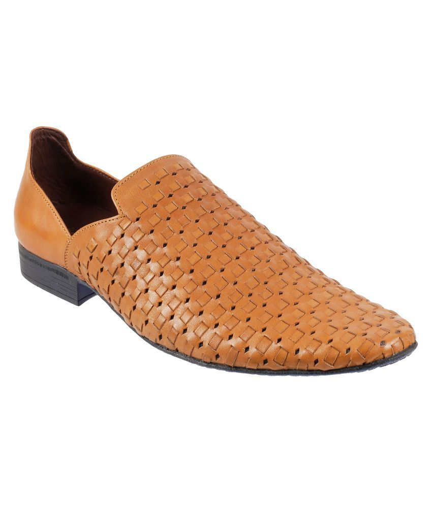 Mochi Office Genuine Leather Tan Formal Shoes