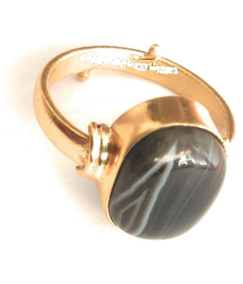Laxmi Gems 8.25 Ratti 7.62 Carat Sulemani Hakik Ring for Men and Women (Black and White) Panchdhatu Stone Ring