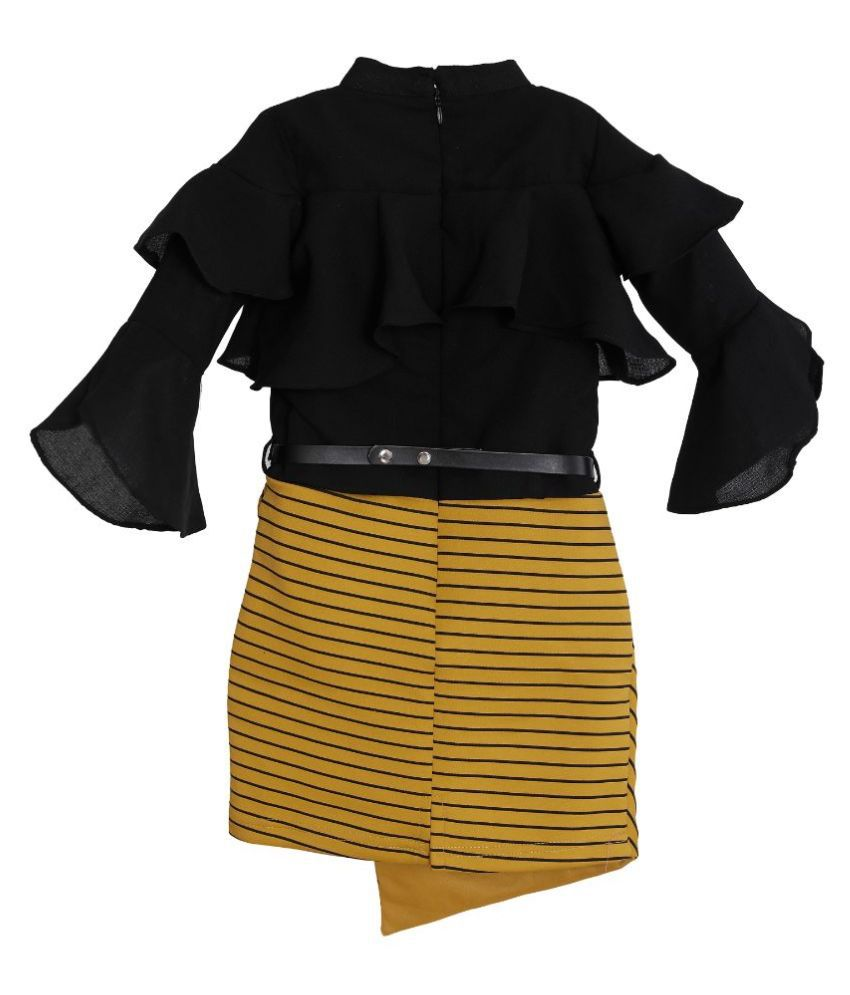 Lemonmint black gloden-brown colour stand collar 3/4 bell sleeves fancy girls frock with belt-12/780