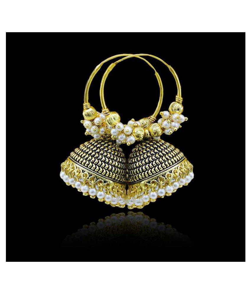 HAPPY STONING Designer Party Wear Enamelled Hoop Balli With Jhumki For Women And Girls Cubic Zirconia, Beads Alloy Hoop Earring