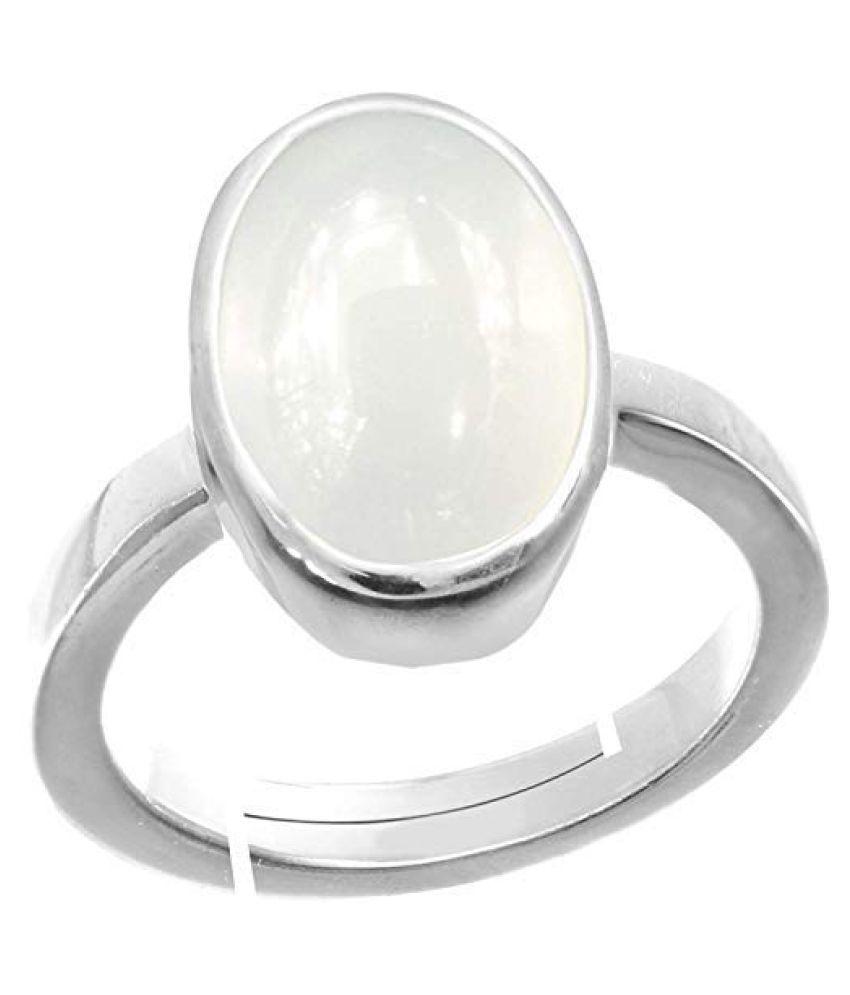 Laxmi Gems 8.25 Ratti 7.62Carat Certified Rashi Ratna Natural  Chandrakanta Moonstone Gemstone Silver+White Matel Adjustable Ring