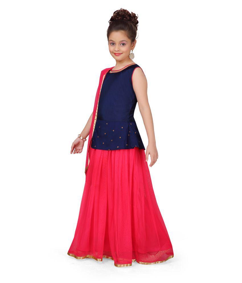 Aarika Girl's blue coloured Ethnic Wear Lehenga Choli and  Dupatta with Unstich Sleeve