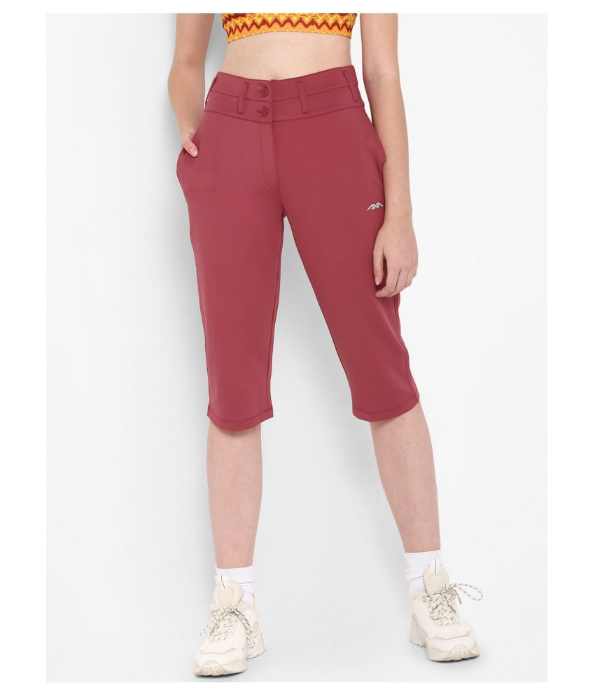 Alcis Red Polyester Solid Capri