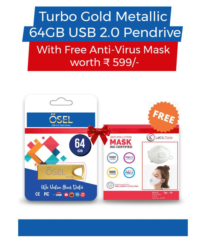 OSEL Turbo Gold Metallic 64GB USB 2.0 Pendrive With Free N 95 Type Mask Worth Rs 599 For Protection Against Viral Infections & Pollution