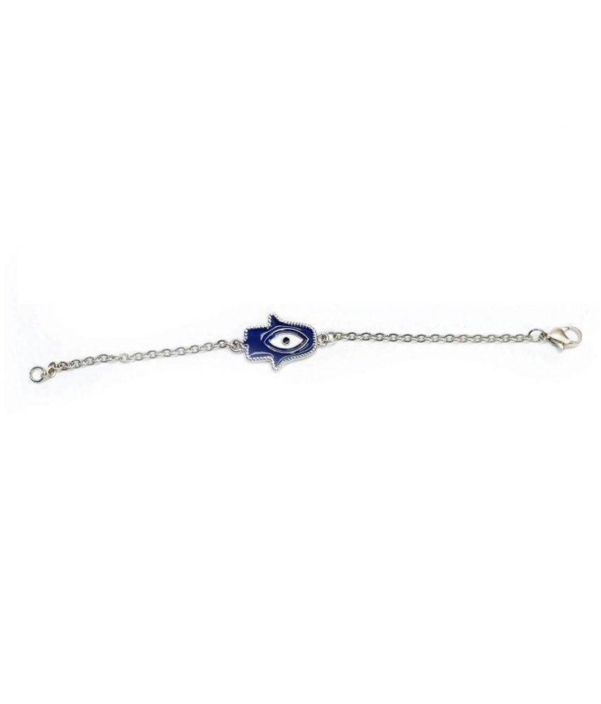 hamsa hand & evil eye metal blue bracelet