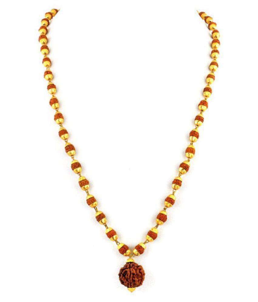 100% Original Certified 5 Mukhi Rudraksha Mala With Gold Plated Cap