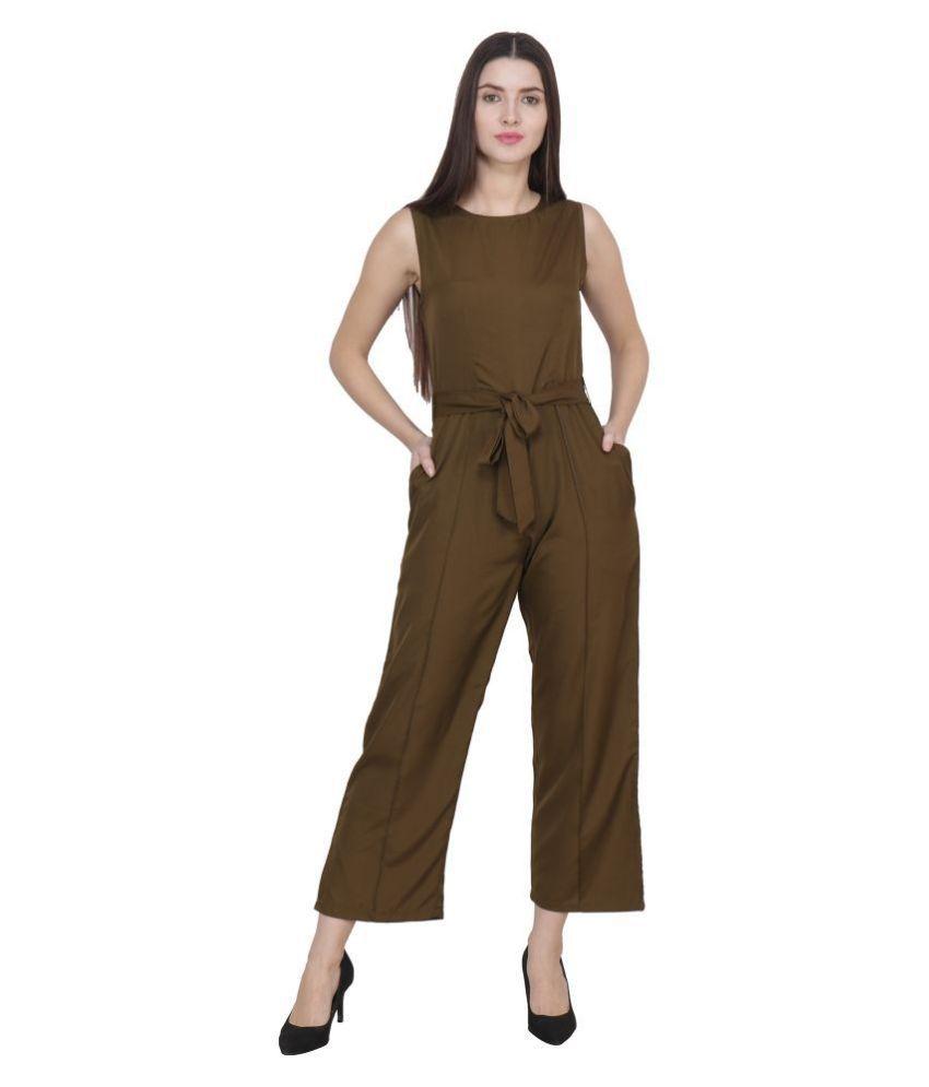 FREMPY Brown Crepe Jumpsuit