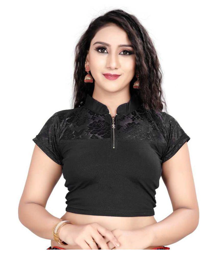 Secret Wear Black Cotton Semi Stitched Blouse
