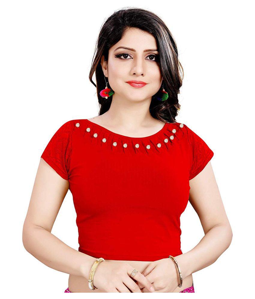 Secret Wear Red Cotton Semi Stitched Blouse