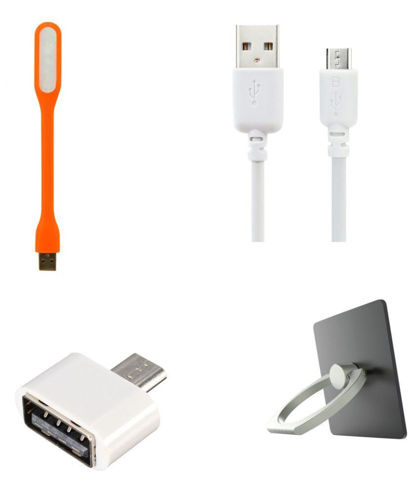 minifox 0.5m OTG Ring Stand, Data Cable, Usb Light   White