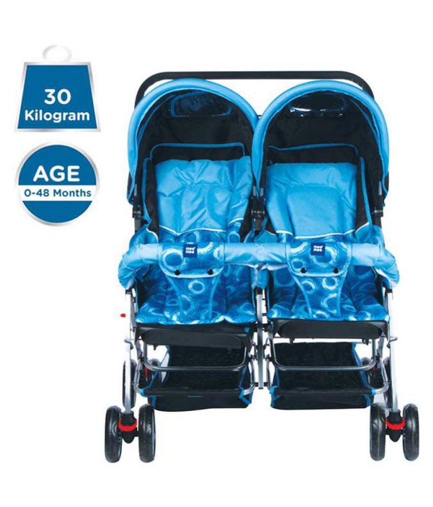 Mee Mee Comfortable Twin Baby Pram with 3 seating position (Blue)