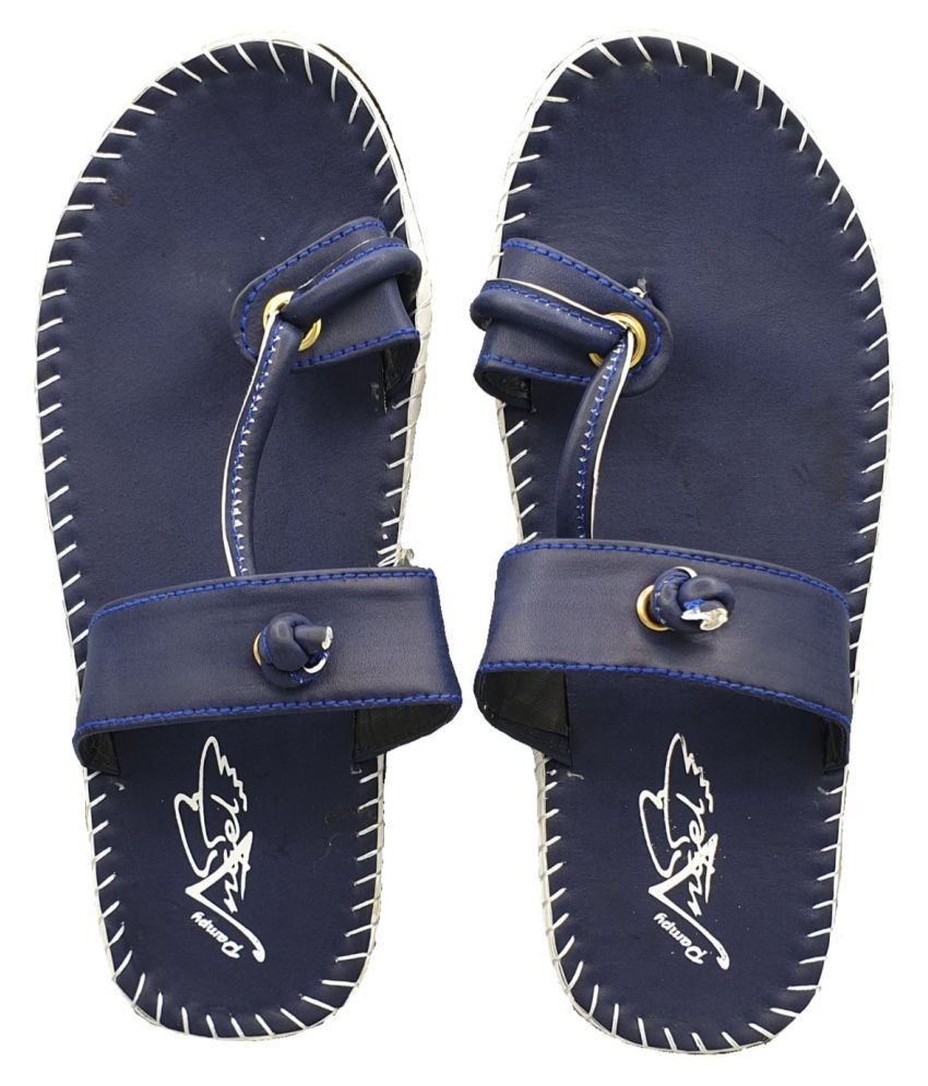 Pampy Angel Blue Leather Slippers