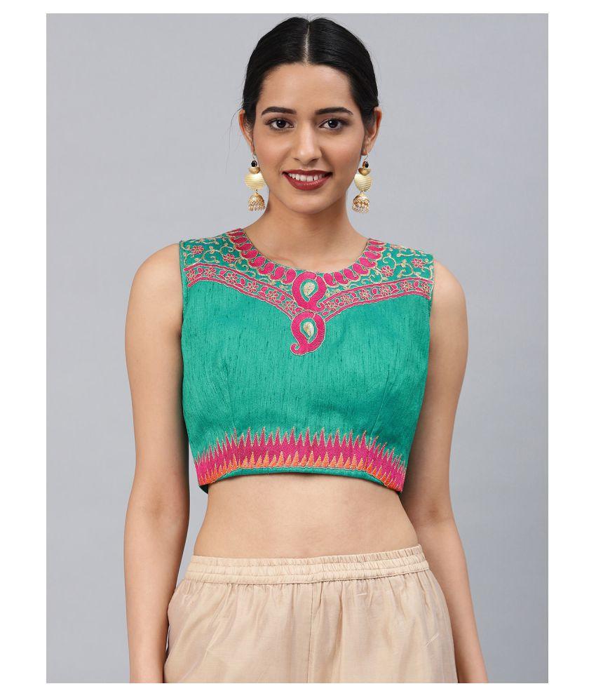 Aarrah Green Art Silk Readymade with Pad Blouse
